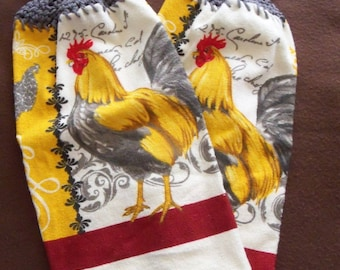 Set of 2 Crocheted Dish Towels ~ French Country Roosters