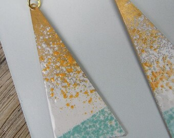 triangular earrings in brass and enamel/blue/white/yellow/geometric/modern/gifts for women