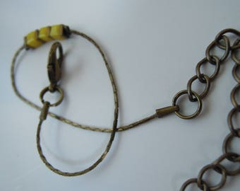 Bracelet chain bronze serpentine, yellow beads and Hematite gold matte/bronze/made handmade/gifts for women