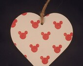 Minnie mickey Mouse Decoupaged wooden hanging heart plaque nursery decoration