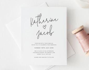 Printable Wedding Invitation - Minimal Wedding Invitations - Simple Invitation - Modern Calligraphy - DIY Wedding Invites - Handlettering