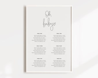 Baby Shower Seating Chart
