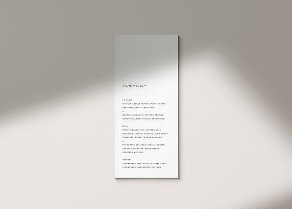 simple wedding menu template printable menu card editable etsy