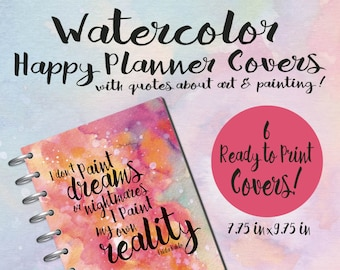 Happy Planner Watercolor Covers, Printable Happy Planner Cover, Planner Printable, Happy Planner, Printable Quotes, Happy Planner Cover