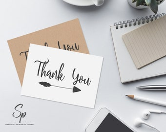 Printable thank you cards, calligraphy thank you card, modern thank you card, printable