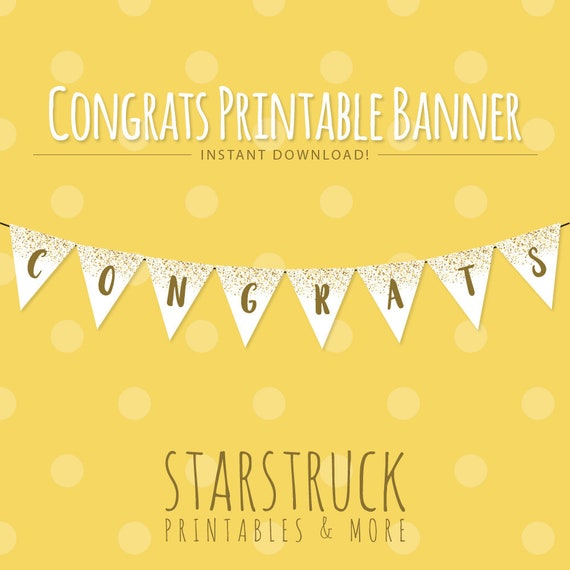 printable congrats banner instant download party banner gold etsy
