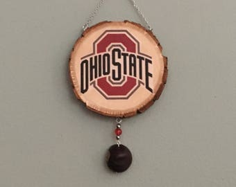 "Ohio State Buckeye Wall Hanging with Scarlet and Gray Beaded Buckeye Drop Accent (6 1/2 "" L x 3 1/4 "" W)"