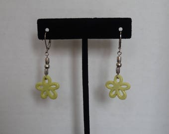 Yellow Flower Earrings Matching Necklace Available