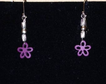 Purple Flower Earrings Matching Necklace Available