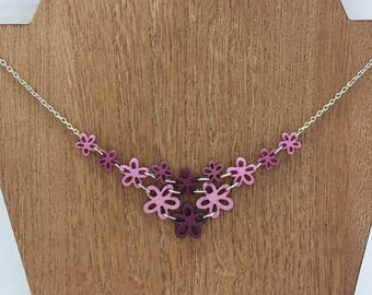 Purple Flower Bib Necklace (matching earrings available)