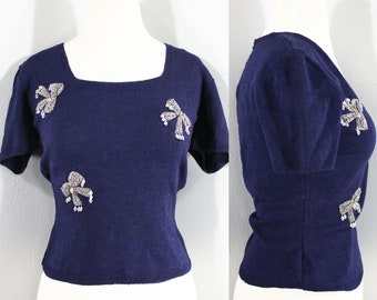 1940s Navy Beaded Sweater, Medium to Large | 40s Vintage Bow Beaded Blouse (M, L, )