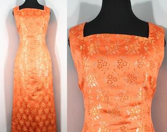 fd83553ffdb1 1960s Orange and Gold Evening Dress