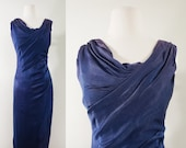 1950s Sapphire Cocktail Dress by Kay Selig, Small to Medium 50s Vintage Blue Draped Crepe Dress (S, M, 38-30-43)