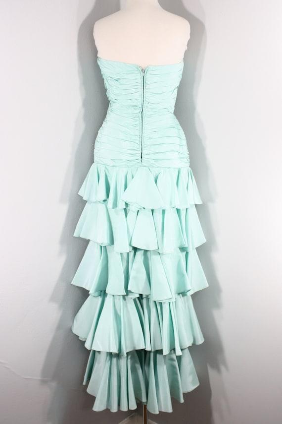 1980s Aqua Ruffled Evening Dress by Lillie Rubin,… - image 8