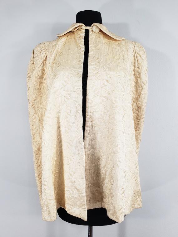 1940s Cream Embroidered Cape, Extra Small to Medi… - image 2