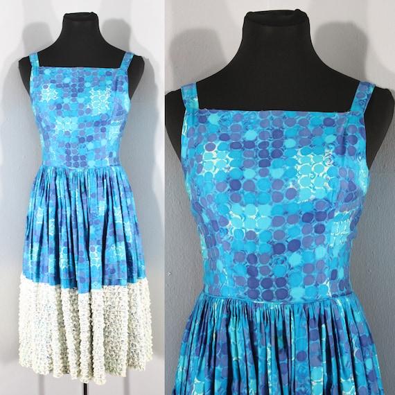 1950s Blue Cotton Watercolor Circles Print Dress b