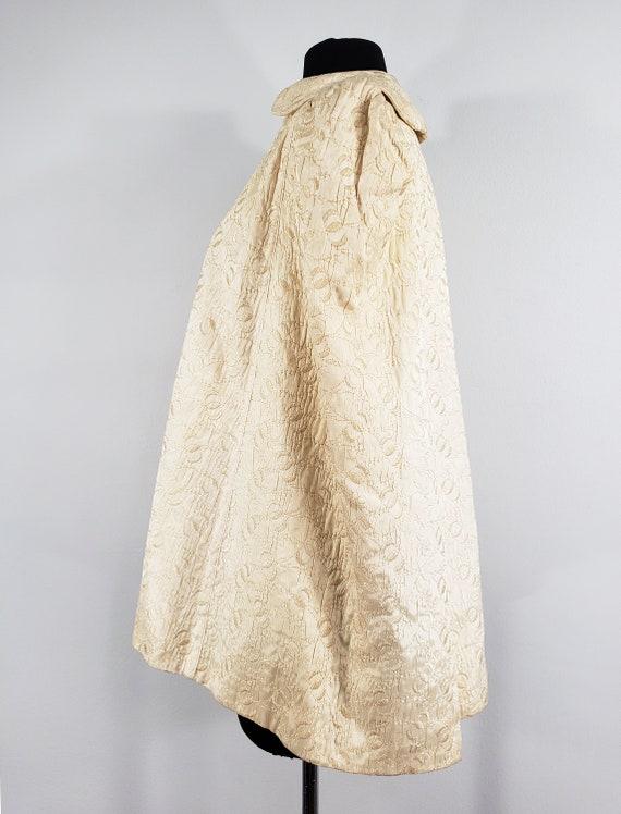 1940s Cream Embroidered Cape, Extra Small to Medi… - image 3