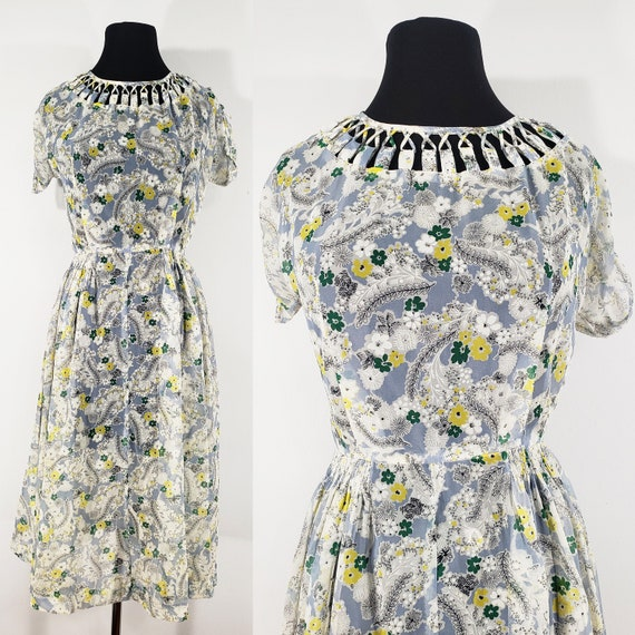 1940s Sheer Floral Spiderweb Dress, Small to Mediu