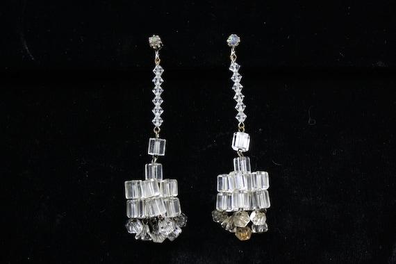 1930s Crystal Chandelier Earrings | 30s Vintage S… - image 1
