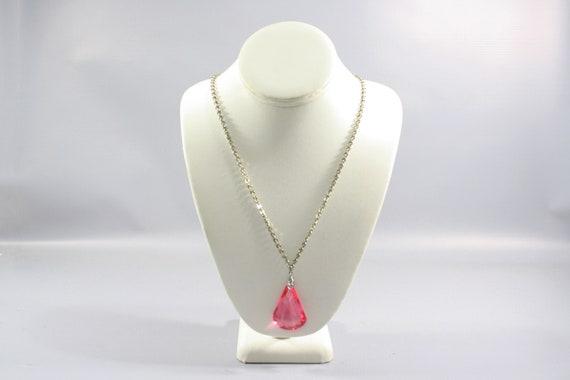1920s Pink Crystal Pendant | 20s Vintage Chrome an