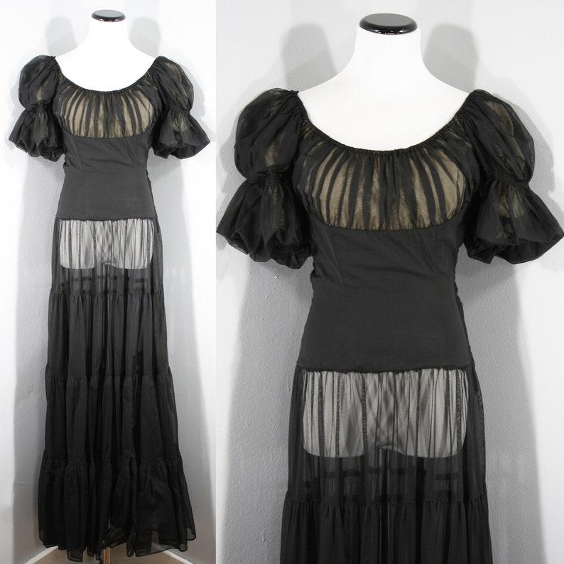 1930s to 1940s Sheer Black Gown, Extra Small to Small   30s to 40s Vintage Tiered Evening Gown (XS, S, 32 25 32)