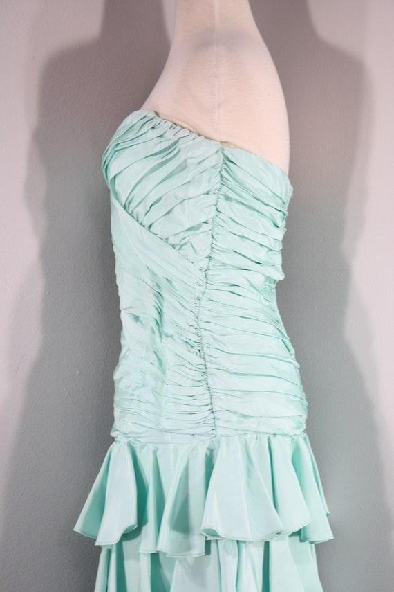 1980s Aqua Ruffled Evening Dress by Lillie Rubin,… - image 7