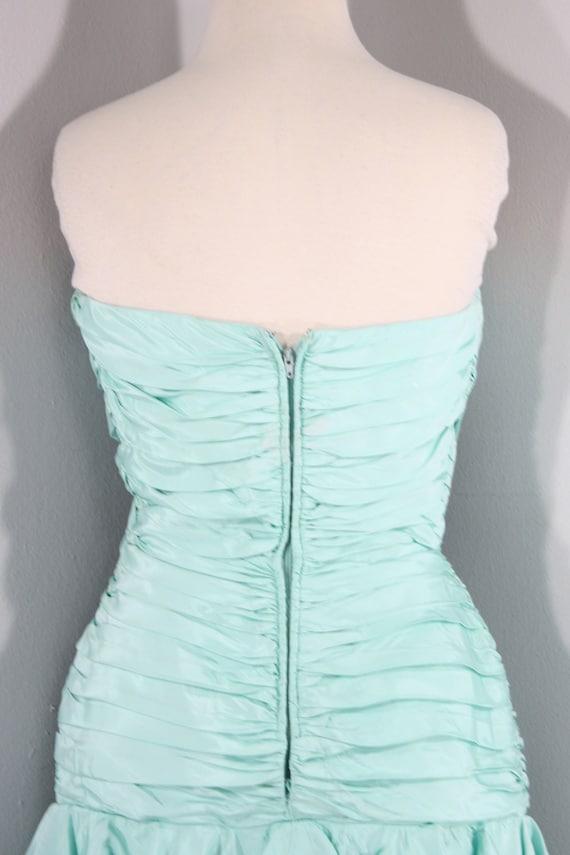 1980s Aqua Ruffled Evening Dress by Lillie Rubin,… - image 9