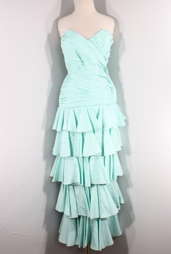1980s Aqua Ruffled Evening Dress by Lillie Rubin,… - image 2