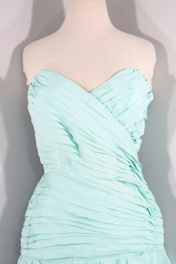 1980s Aqua Ruffled Evening Dress by Lillie Rubin,… - image 4