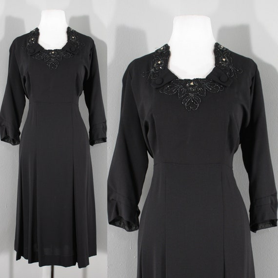 VOLUP 1940s Black Beaded Rayon Dress, Medium to La