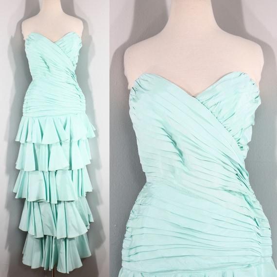 1980s Aqua Ruffled Evening Dress by Lillie Rubin,… - image 1