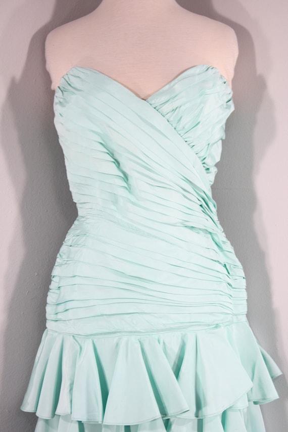 1980s Aqua Ruffled Evening Dress by Lillie Rubin,… - image 3