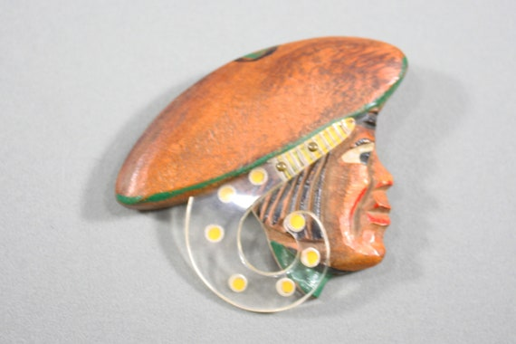 1940s Wood Head Brooch | 40s Vintage Carved Wood a