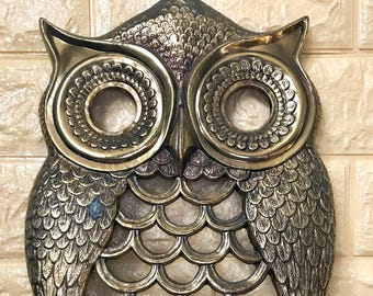 Vintage Brass Owl Wall Hanging