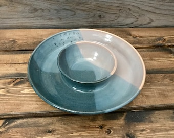 Ceramic Chip and Dip Bowl, Ceramic Pottery, Hand Thrown, Hand Made Pottery, Dip Bowl, Chip Bowl