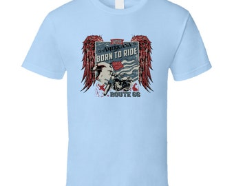 Americana Born To Ride Route 66 T Shirt