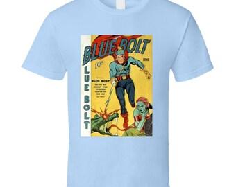 Blue Bolt Superhero Comic Book T-shirt