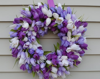 Tulip Wreath with purple, lavender and white tulips
