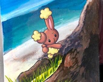 Custom Painted Buneary Pikachu Pokemon TCG Card