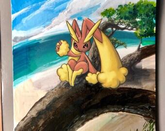 Custom Painted Lopunny Pikachu Pokemon TCG Card