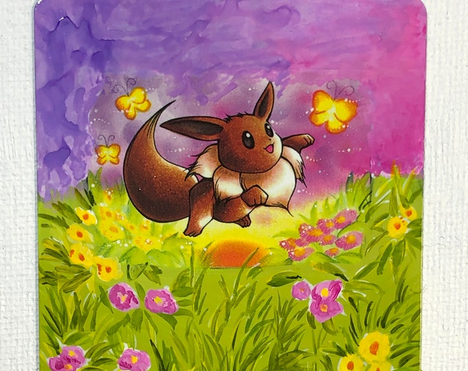 Featured listing image: Custom Painted Eevee Pokemon TCG Card