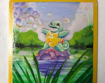 Custom Painted Squirtle Pokemon TCG Card