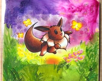 Custom Painted Eevee Pokemon TCG Card