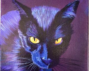 Original Black Cat Painting