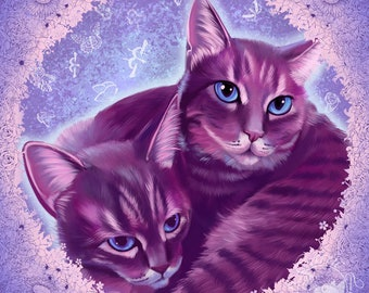 Cat Snuggle Painting Print