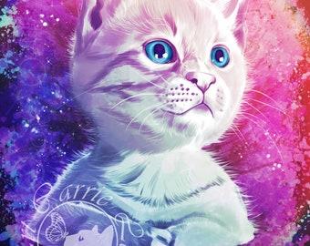 Rainbow Kitten Print