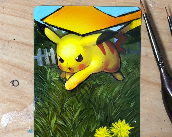 Featured listing image: Custom Painted Pikachu Pokemon TCG Card