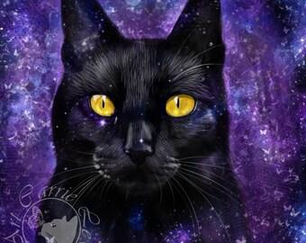 Black Cat in Space Print