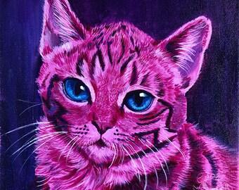 Pink Kitten Painting Print