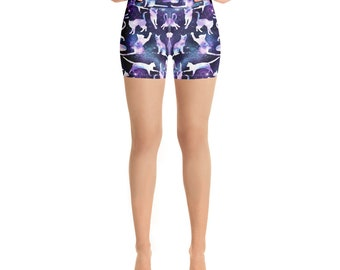 Space Cats Yoga Shorts